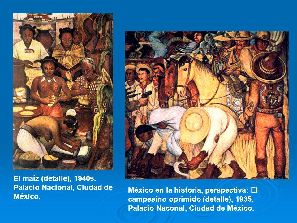 El maíz (detalle), 1940s. Palacio Nacional, Ciudad de México. México en la historia, perspectiva: El campesino oprimido (detalle), 1935. Palacio Nacon