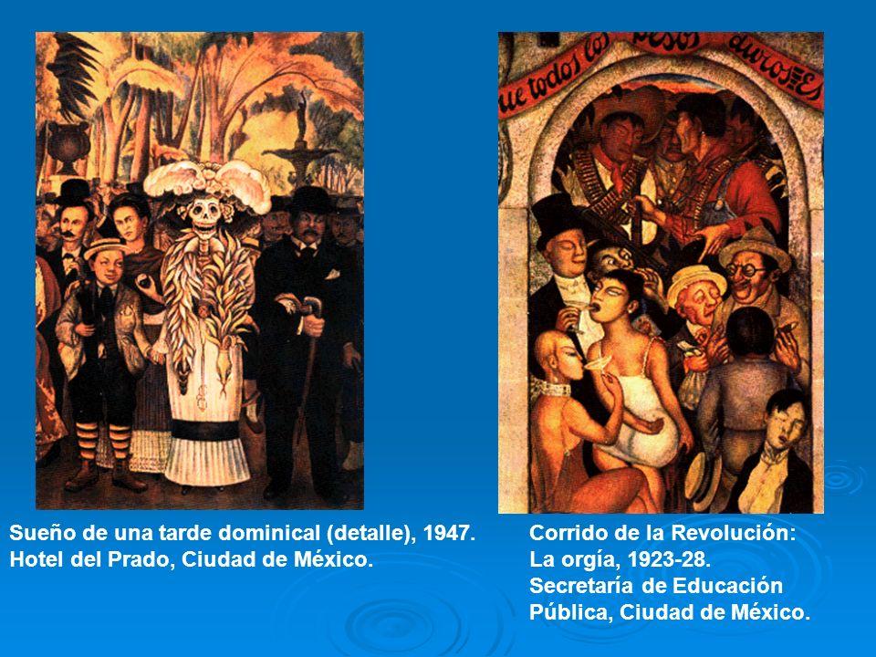 Sueño de una tarde dominical (detalle), 1947. Hotel del Prado, Ciudad de México. Corrido de la Revolución: La orgía, 1923-28. Secretaría de Educación