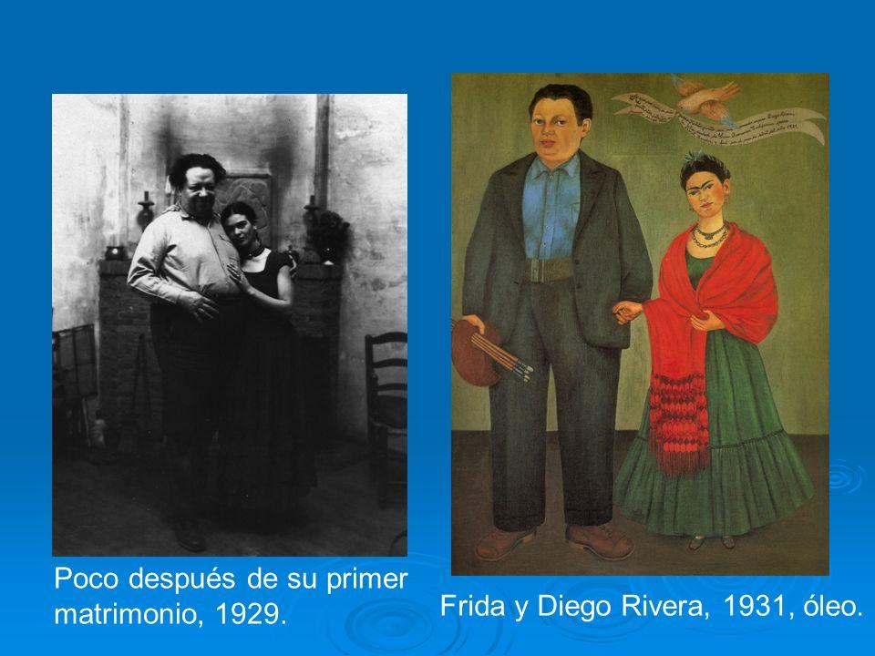 Poco después de su primer matrimonio, 1929. Frida y Diego Rivera, 1931, óleo.