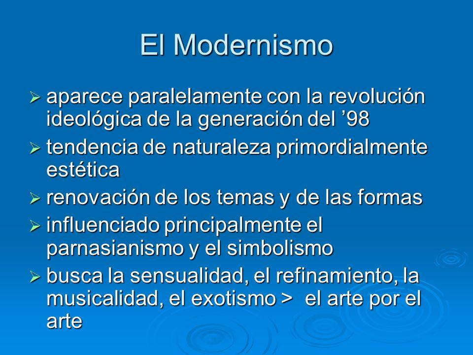 El Modernismo aparece paralelamente con la revolución ideológica de la generación del 98 aparece paralelamente con la revolución ideológica de la gene