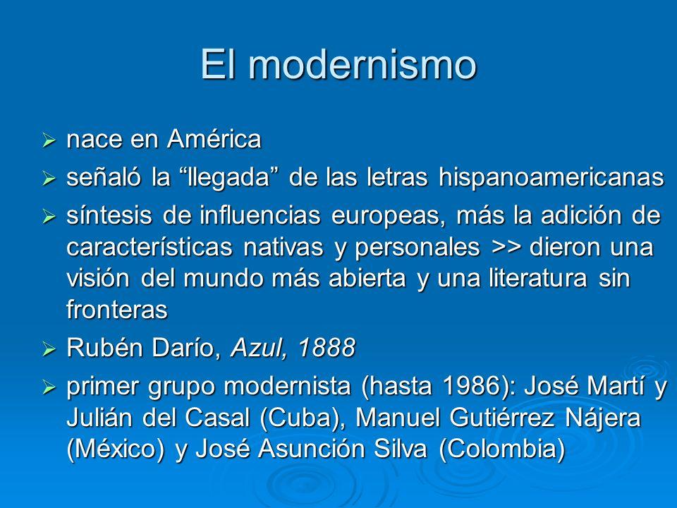 El modernismo nace en América nace en América señaló la llegada de las letras hispanoamericanas señaló la llegada de las letras hispanoamericanas sínt