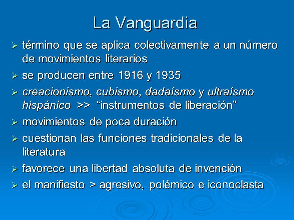 La Vanguardia término que se aplica colectivamente a un número de movimientos literarios término que se aplica colectivamente a un número de movimient