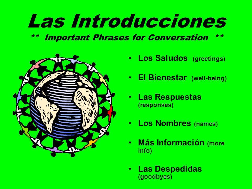 Las Introducciones ** Important Phrases for Conversation ** Los Saludos (greetings) El Bienestar (well-being) Las Respuestas (responses) Los Nombres (