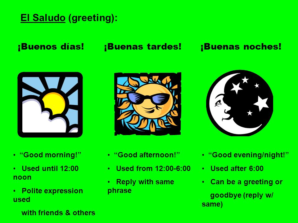 El Saludo (greeting): ¡Buenos días!¡Buenas tardes!¡Buenas noches! Good morning! Used until 12:00 noon Polite expression used with friends & others Goo