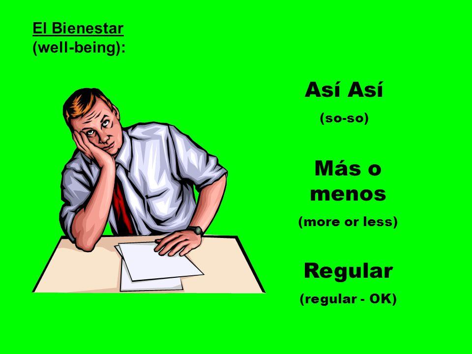 El Bienestar (well-being): Así (so-so) Más o menos (more or less) Regular (regular - OK)