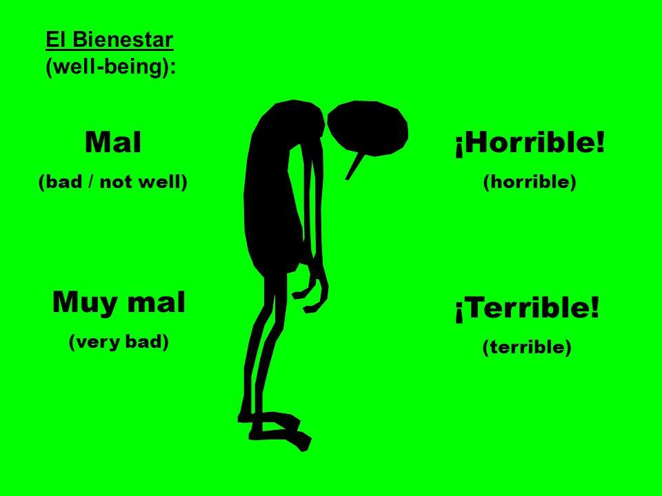 El Bienestar (well-being): Mal (bad / not well) Muy mal (very bad) ¡Horrible! (horrible) ¡Terrible! (terrible)