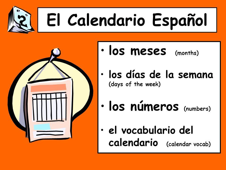 El Calendario Español los meses (months) los días de la semana (days of the week) los números (numbers) el vocabulario del calendario (calendar vocab)