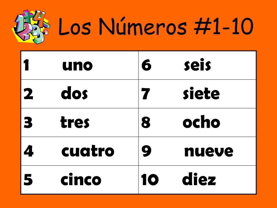 Los Números #1-10 1 uno6 seis 2 dos7 siete 3 tres8 ocho 4 cuatro9 nueve 5 cinco10 diez