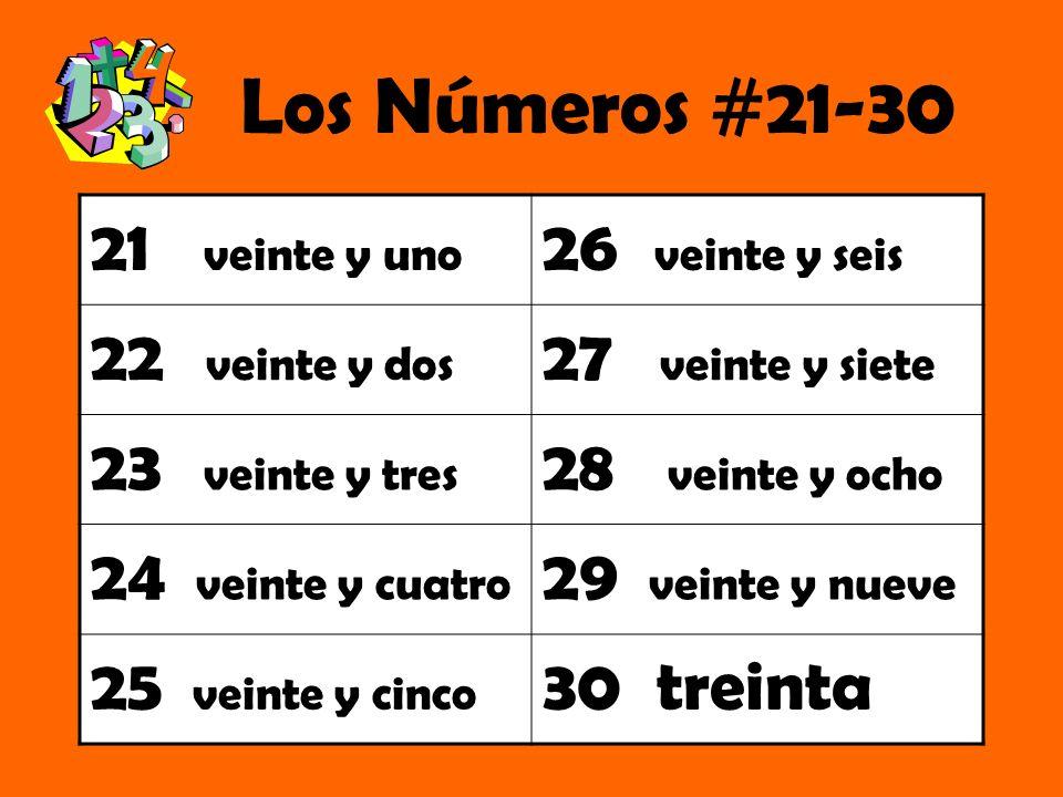 Los Números #21-30 21 veinte y uno 26 veinte y seis 22 veinte y dos 27 veinte y siete 23 veinte y tres 28 veinte y ocho 24 veinte y cuatro 29 veinte y