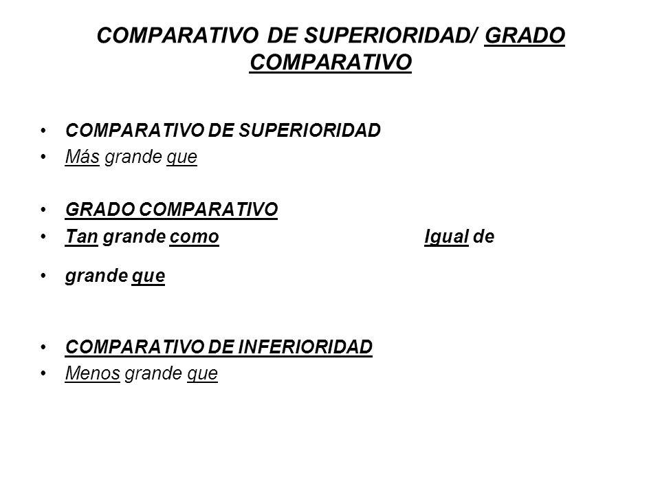 COMPARATIVO DE SUPERIORIDAD/ GRADO COMPARATIVO COMPARATIVO DE SUPERIORIDAD Más grande que GRADO COMPARATIVO Tan grande como Igual de grande que COMPAR