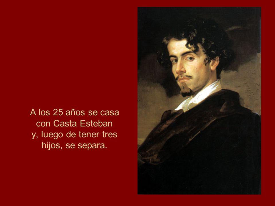 A los 25 años se casa con Casta Esteban y, luego de tener tres hijos, se separa.
