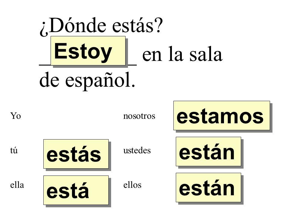 ¿Dónde estamos._________ en la sala de español.