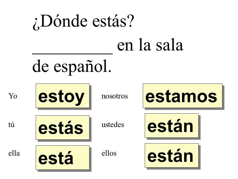 ¿Dónde estás? _________ en la sala de español. estoy estás está están estamos Yo tú ella nosotros ustedes ellos