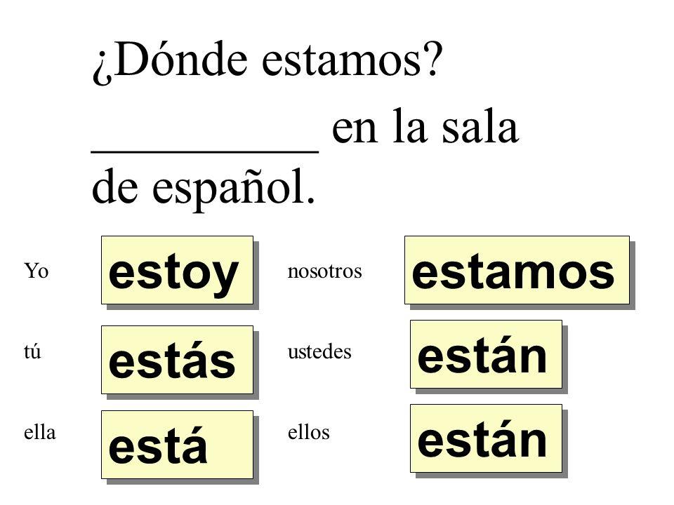 ¿Dónde estamos? _________ en la sala de español. estoy estás está están estamos Yo tú ella nosotros ustedes ellos