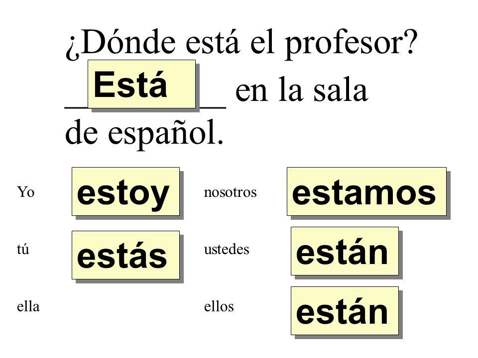 ¿Dónde está el profesor? _________ en la sala de español. estoy estás Está están estamos Yo tú ella nosotros ustedes ellos