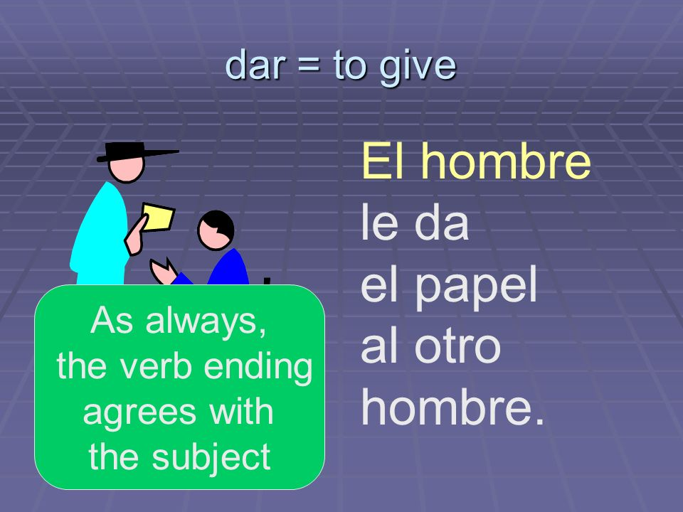 dar = to give El hombre le da el papel al otro hombre. As always, the verb ending agrees with the subject