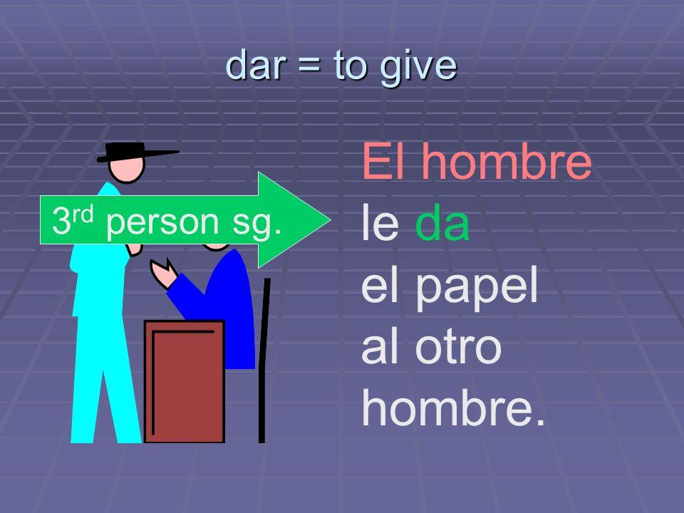 dar = to give El hombre le da el papel al otro hombre. 3 rd person sg.