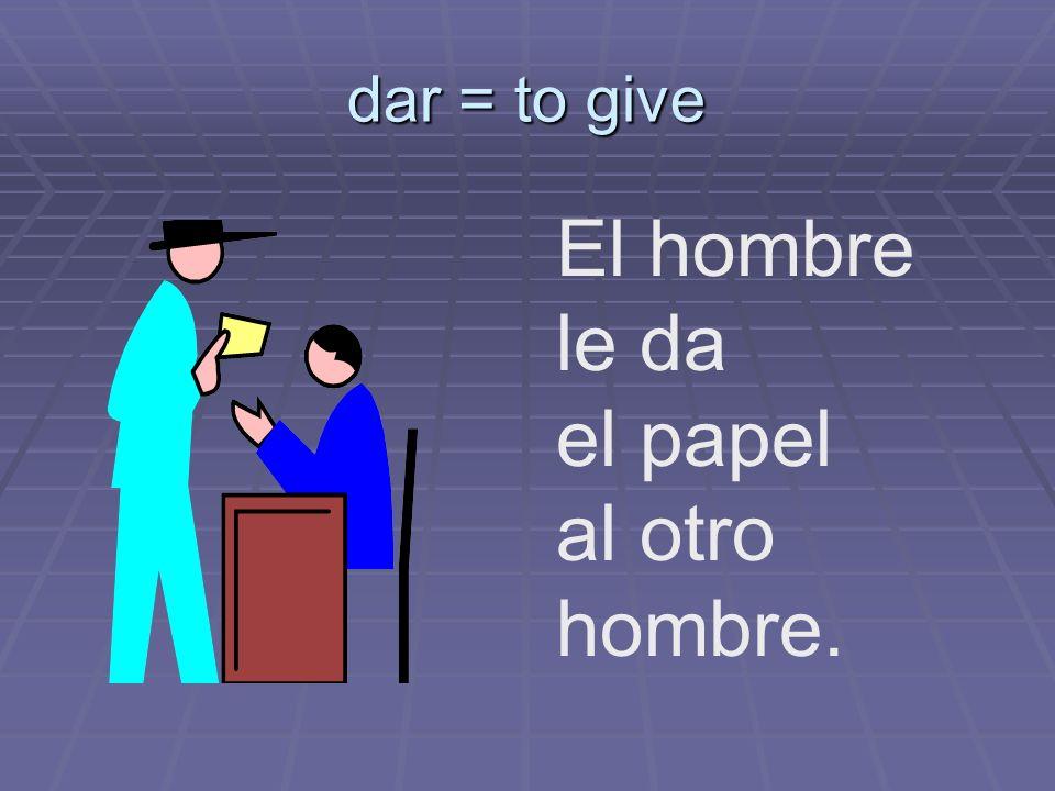 Ana le _______ el plato. doy da das dan damos