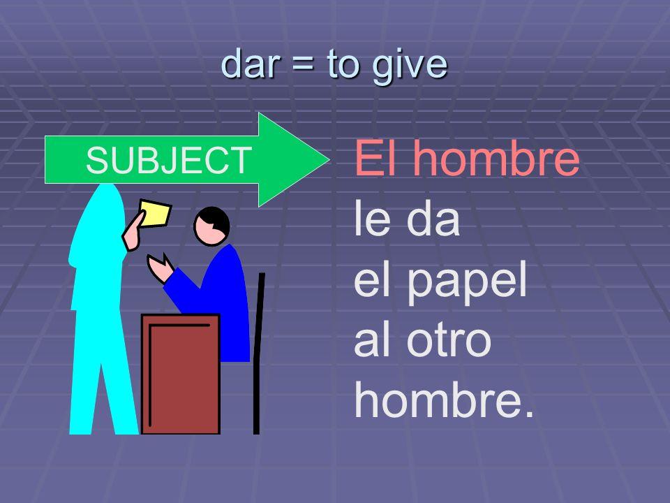 dar = to give El hombre le da el papel al otro hombre. SUBJECT