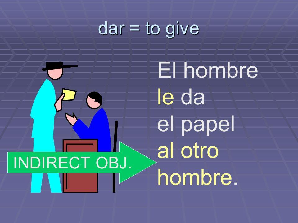 dar = to give El hombre le da el papel al otro hombre. INDIRECT OBJ.