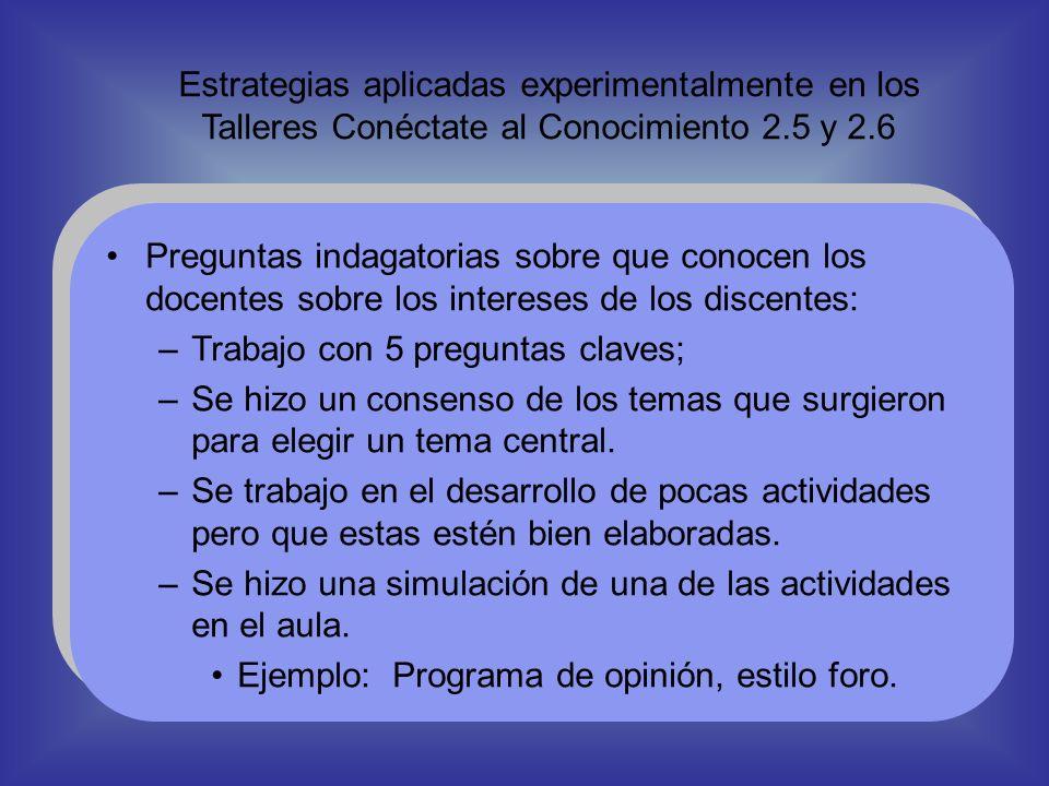 Estrategias aplicadas experimentalmente en los Talleres Conéctate al Conocimiento 2.5 y 2.6 Preguntas indagatorias sobre que conocen los docentes sobr
