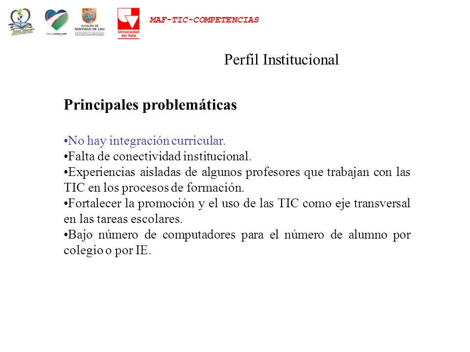 MAF-TIC-COMPETENCIAS Perfil Institucional Principales problemáticas No hay integración curricular. Falta de conectividad institucional. Experiencias a