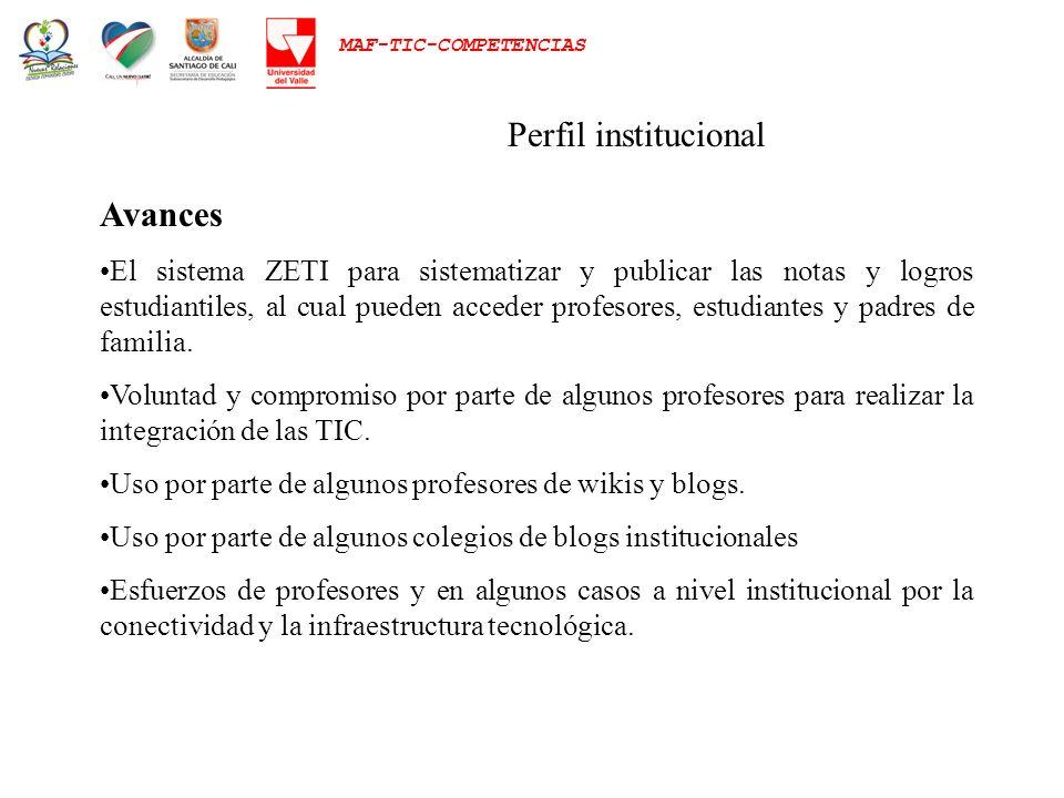 MAF-TIC-COMPETENCIAS Perfil institucional Avances El sistema ZETI para sistematizar y publicar las notas y logros estudiantiles, al cual pueden accede