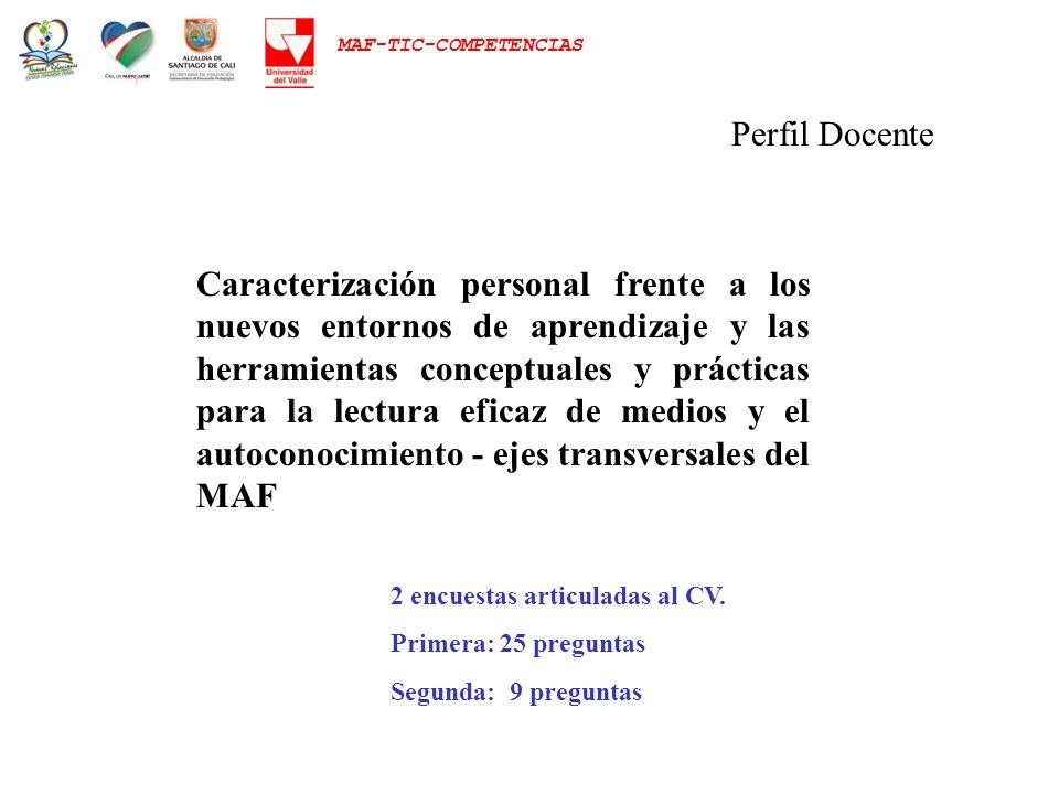 MAF-TIC-COMPETENCIAS Perfil Docente Caracterización personal frente a los nuevos entornos de aprendizaje y las herramientas conceptuales y prácticas p