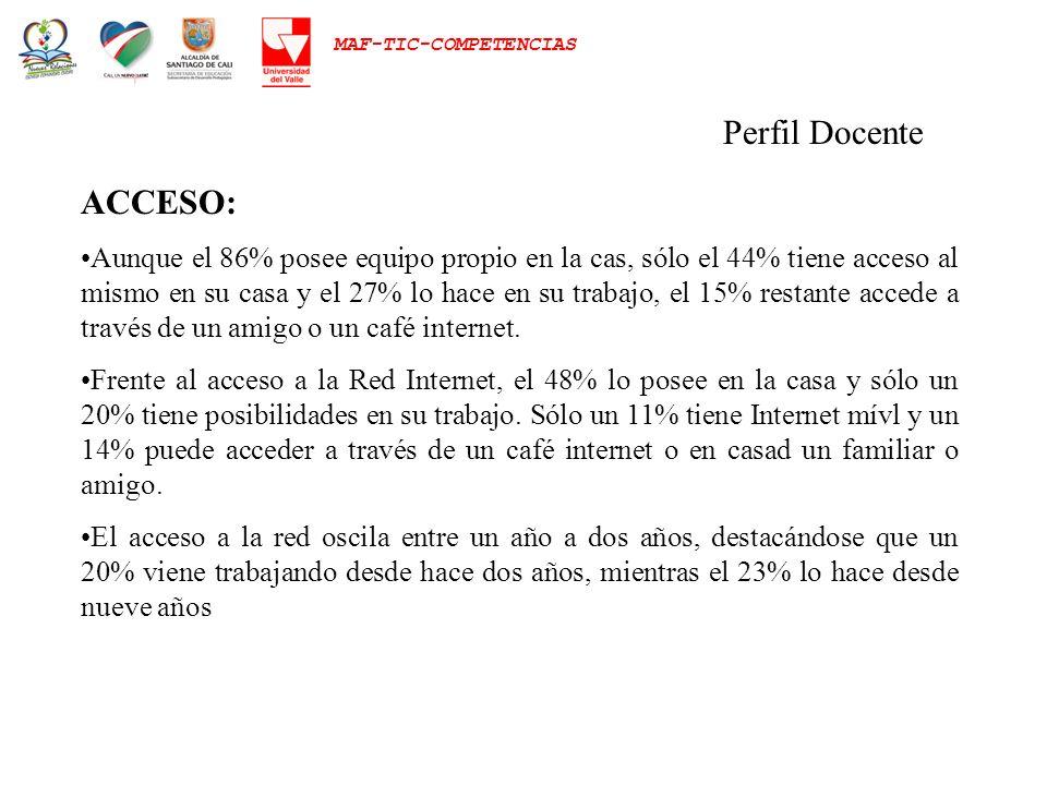 MAF-TIC-COMPETENCIAS Perfil Docente ACCESO: Aunque el 86% posee equipo propio en la cas, sólo el 44% tiene acceso al mismo en su casa y el 27% lo hace