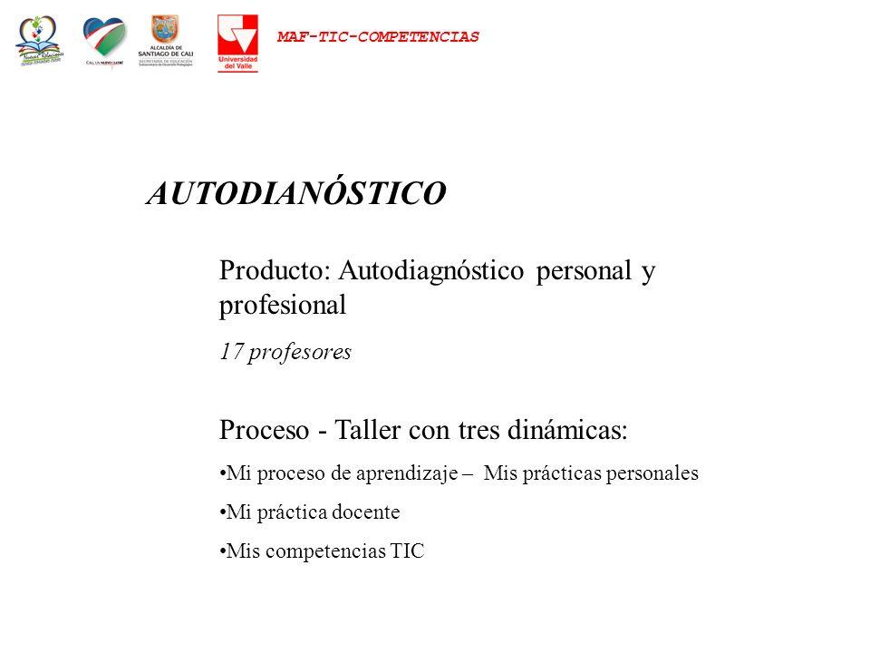 MAF-TIC-COMPETENCIAS AUTODIANÓSTICO Producto: Autodiagnóstico personal y profesional 17 profesores Proceso - Taller con tres dinámicas: Mi proceso de