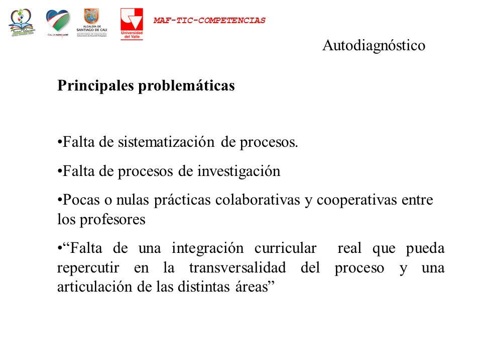 MAF-TIC-COMPETENCIAS Autodiagnóstico Principales problemáticas Falta de sistematización de procesos. Falta de procesos de investigación Pocas o nulas