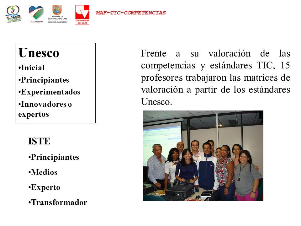 MAF-TIC-COMPETENCIAS Unesco Inicial Principiantes Experimentados Innovadores o expertos Frente a su valoración de las competencias y estándares TIC, 1