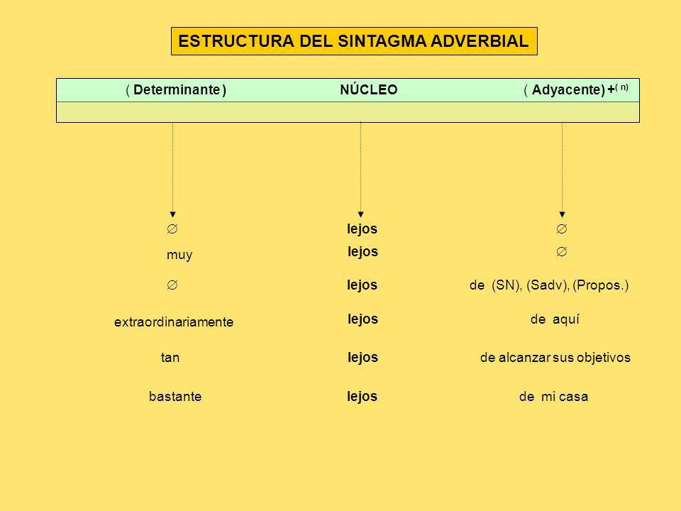 ESTRUCTURA DEL SINTAGMA ADVERBIAL ( Determinante ) NÚCLEO ( Adyacente) + ( n) lejos lejos muy lejosde (SN), (Sadv), (Propos.) extraordinariamente lejo