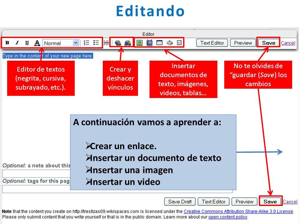 Editando Crear y deshacer vínculos Editor de textos (negrita, cursiva, subrayado, etc.). Insertar documentos de texto, imágenes, videos, tablas… No te