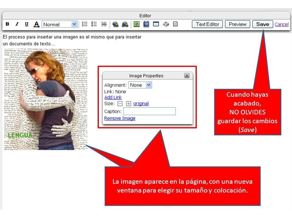 La imagen aparece en la página con una nueva ventana para elegir su colocación. La imagen aparece en la página, con una nueva ventana para elegir su t