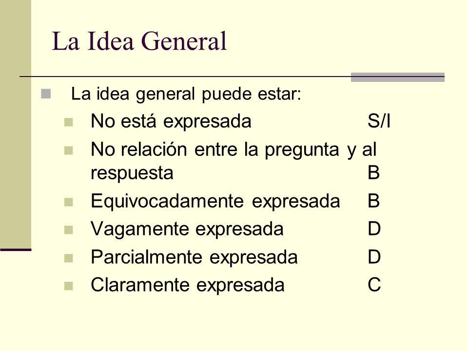 La Idea General La idea general puede estar: No está expresadaS/I No relación entre la pregunta y al respuesta B Equivocadamente expresada B Vagamente