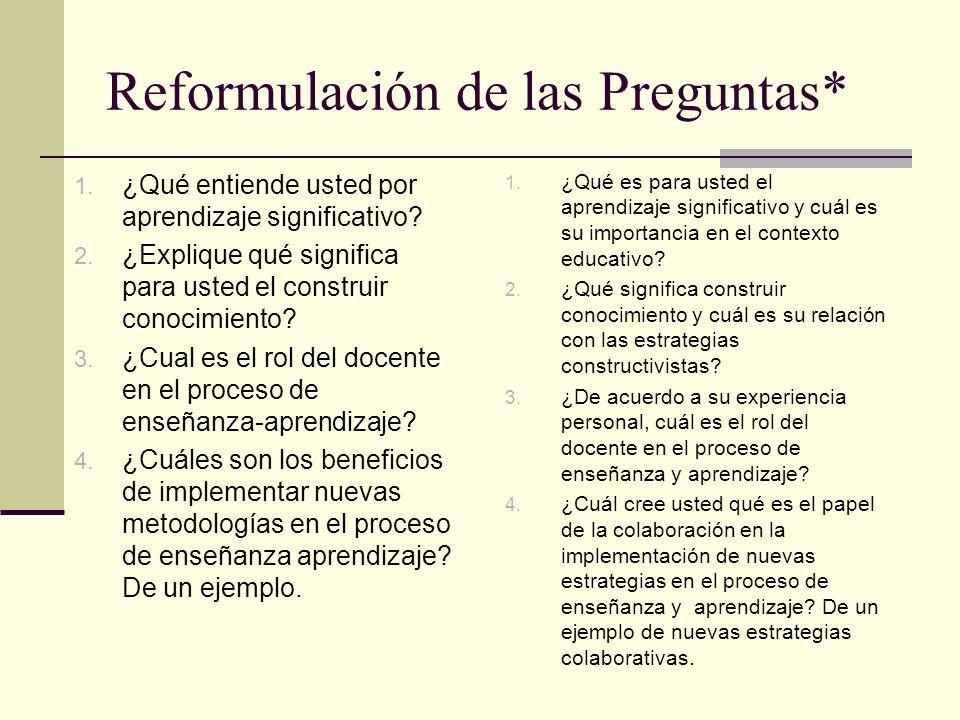 Reformulación de las Preguntas* 1. ¿Qué es para usted el aprendizaje significativo y cuál es su importancia en el contexto educativo? 2. ¿Qué signific