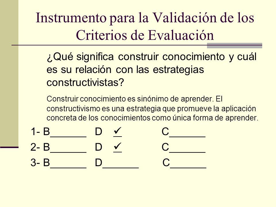 Instrumento para la Validación de los Criterios de Evaluación ¿Qué significa construir conocimiento y cuál es su relación con las estrategias construc