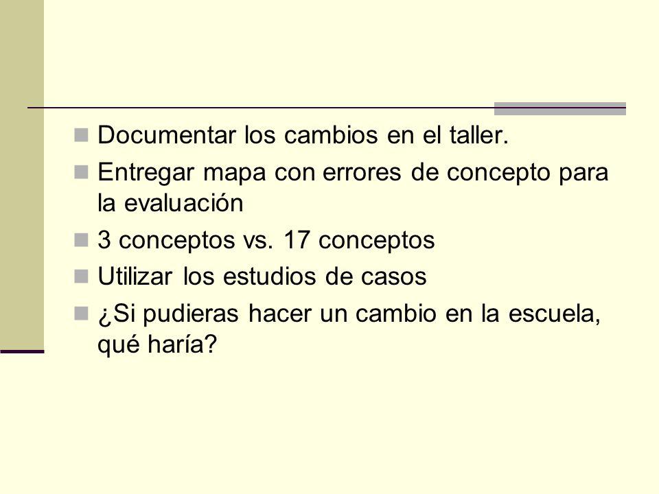 Documentar los cambios en el taller. Entregar mapa con errores de concepto para la evaluación 3 conceptos vs. 17 conceptos Utilizar los estudios de ca
