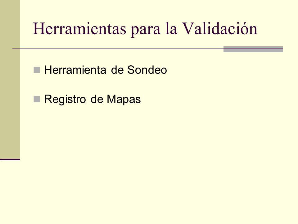 Herramientas para la Validación Herramienta de Sondeo Registro de Mapas