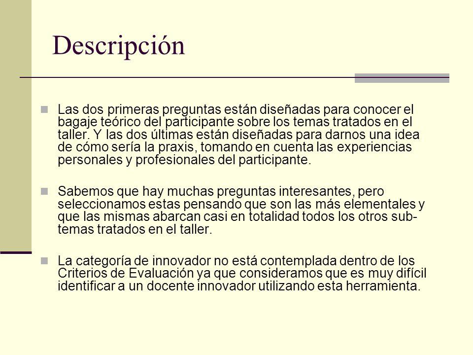 Descripción Las dos primeras preguntas están diseñadas para conocer el bagaje teórico del participante sobre los temas tratados en el taller. Y las do