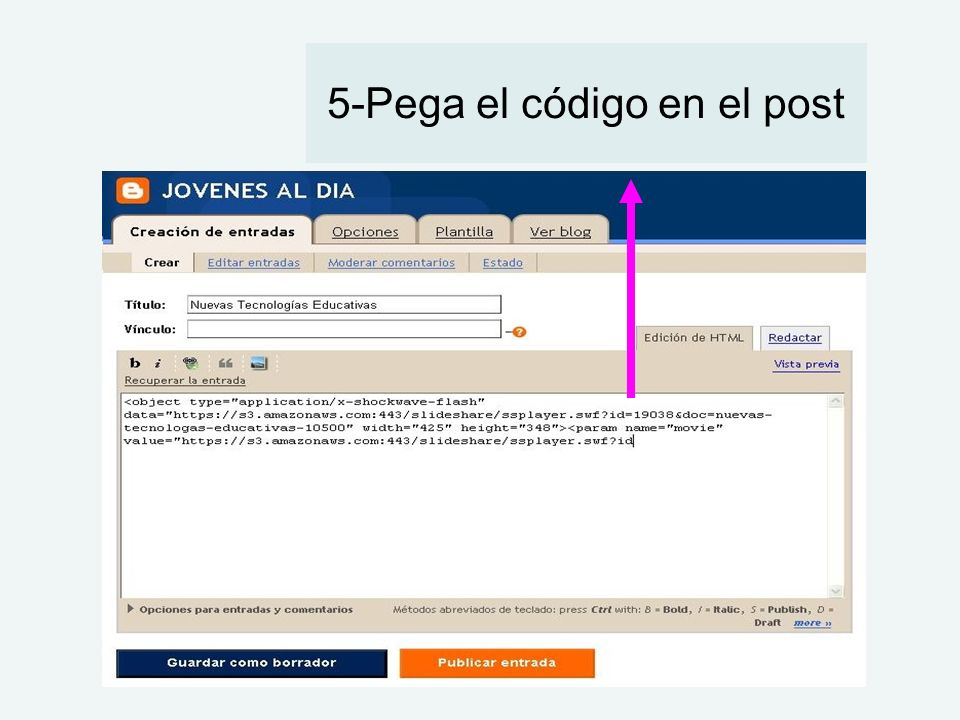 5-Pega el código en el post