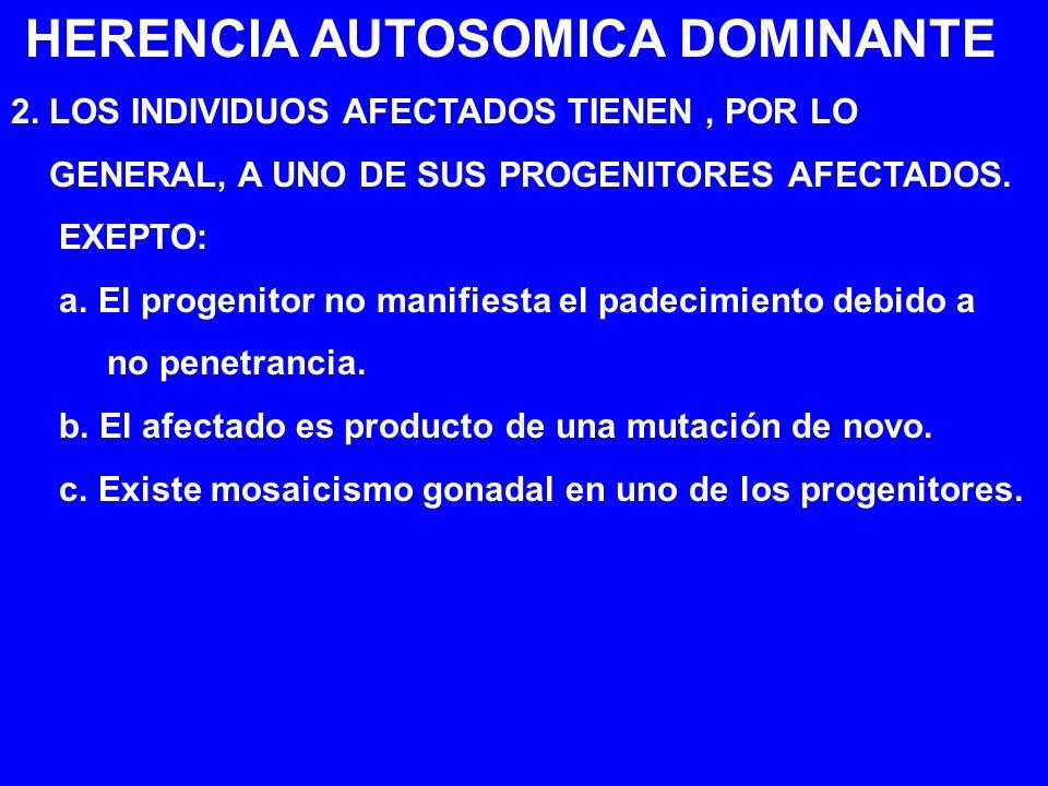 HERENCIA AUTOSOMICA DOMINANTE 2. LOS INDIVIDUOS AFECTADOS TIENEN, POR LO GENERAL, A UNO DE SUS PROGENITORES AFECTADOS. EXEPTO: a. El progenitor no man