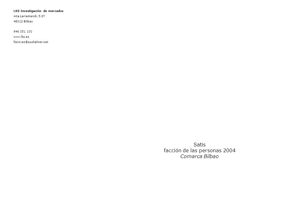 COMARCA BILBAO Satisfacción de las personas 2004 12 de 23 3.2 Índice de Satisfacción Global (ISG) GlobalFacult Sanit no Facult Sin Id Resp y prof con mando Prof sin mando Sin Id Fijo No sanit No fijoSin Id