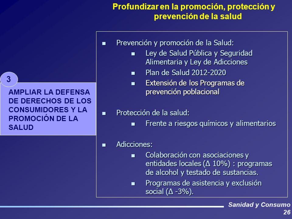 Sanidad y Consumo 26 Profundizar en la promoción, protección y prevención de la salud 3 AMPLIAR LA DEFENSA DE DERECHOS DE LOS CONSUMIDORES Y LA PROMOCIÓN DE LA SALUD n Prevención y promoción de la Salud: n Ley de Salud Pública y Seguridad Alimentaria y Ley de Adicciones n Plan de Salud 2012-2020 n Extensión de los Programas de prevención poblacional n Protección de la salud: n Frente a riesgos químicos y alimentarios n Adicciones: n Colaboración con asociaciones y entidades locales (Δ 10%) : programas de alcohol y testado de sustancias.