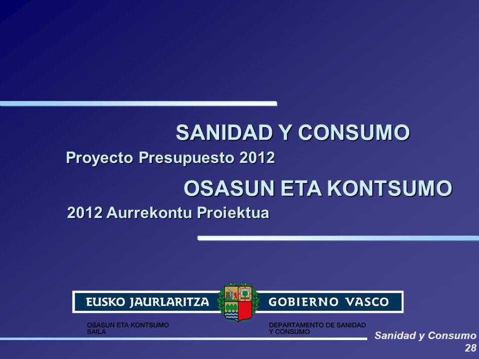 Sanidad y Consumo 28 SANIDAD Y CONSUMO OSASUN ETA KONTSUMO Proyecto Presupuesto 2012 2012 Aurrekontu Proiektua