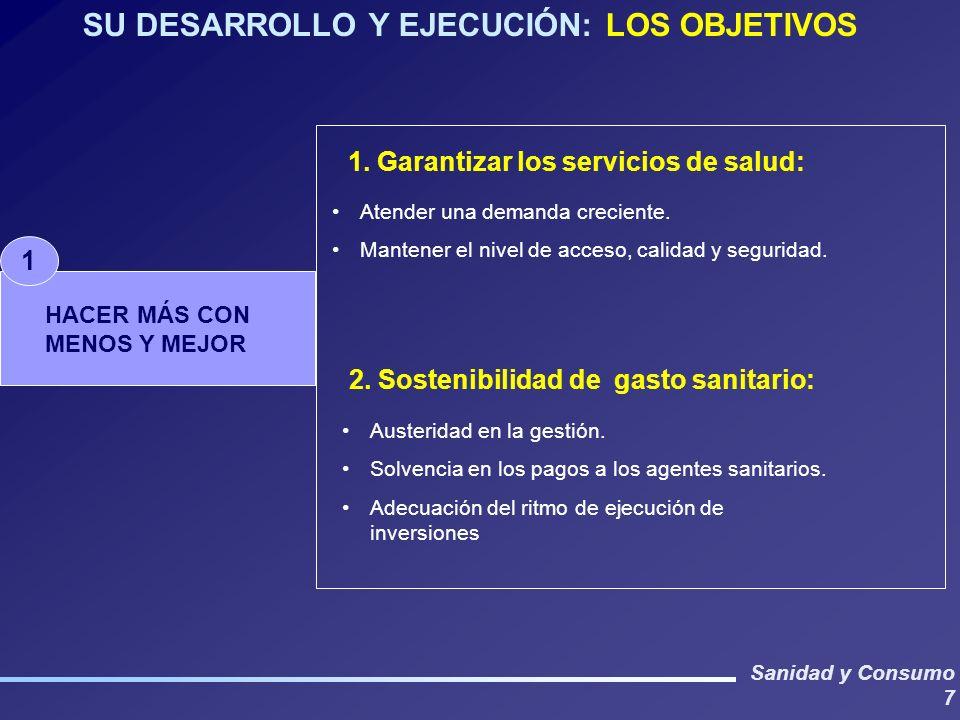 Sanidad y Consumo 7 SU DESARROLLO Y EJECUCIÓN: LOS OBJETIVOS Austeridad en la gestión. Solvencia en los pagos a los agentes sanitarios. Adecuación del