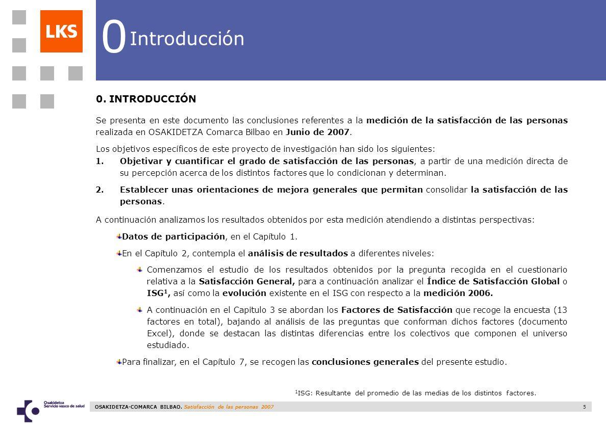 OSAKIDETZA-COMARCA BILBAO. Satisfacción de las personas 2007 5 0 Introducción 0. INTRODUCCIÓN Se presenta en este documento las conclusiones referente