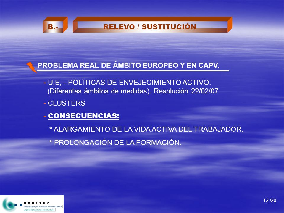 PROBLEMA REAL DE ÁMBITO EUROPEO Y EN CAPV. - U,E, - POLÍTICAS DE ENVEJECIMIENTO ACTIVO. (Diferentes ámbitos de medidas). Resolución 22/02/07 - CLUSTER