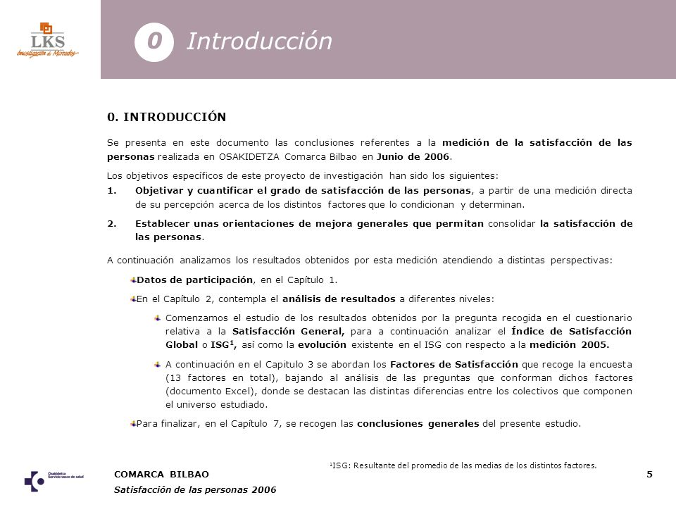 COMARCA BILBAO Satisfacción de las personas 2006 5 0.
